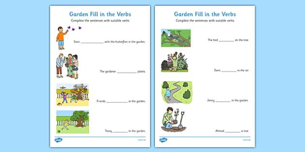 Garden Fill in the Verbs Worksheets - garden, fill in the verbs, fill, verbs, worksheet, missing