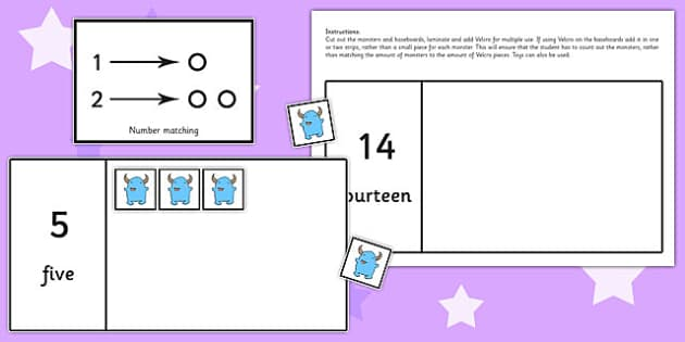 Workstation Pack 1-20 Monster Counting Activity - teacch