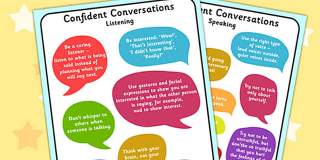 Confident Conversation Display Posters - confident, conversation, display