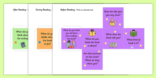 Reading Book Questions with Images Prompt Dice Net - reading book questions, book questions, prompt dice, reading book prompt, questions with images