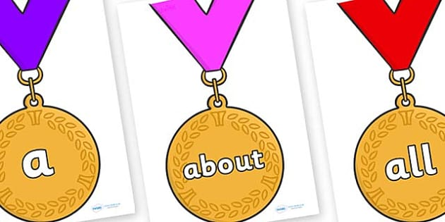 100 High Frequency Words on Gold Medals - High frequency words, hfw, DfES Letters and Sounds, Letters and Sounds, display words