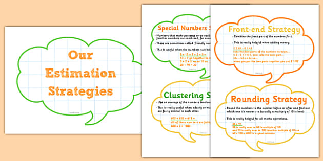Maths Estimation Strategies Display Cards - roi, irish, gaeilge, estimation strategies, mental maths, display, problem solving, rounding, clustering, special numbers, front end strategy