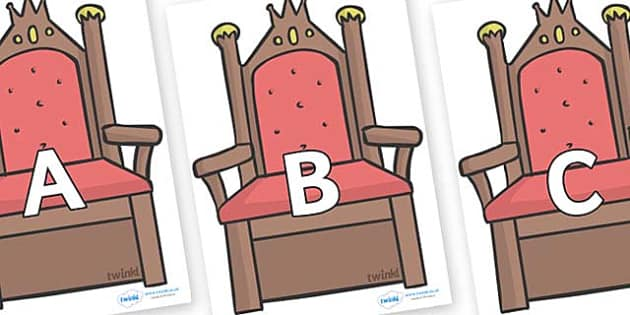 A-Z Alphabet on Thrones (Plain) - A-Z, A4, display, Alphabet frieze, Display letters, Letter posters, A-Z letters, Alphabet flashcards