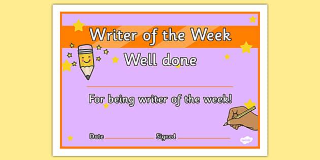 Writer of the Week Award Certificate - certificates, week, writer