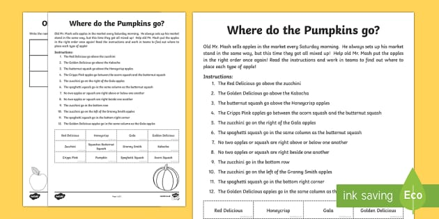 Where do the pumpkins go? Activity Sheet