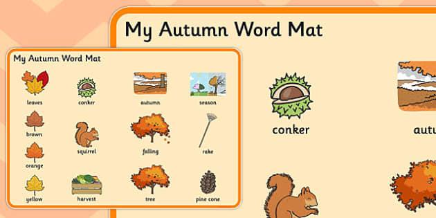 Autumn Pre-Teaching Word Mat - autumn, pre-teaching, word mat