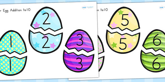 Easter Egg Addition Up To 10 Activity - easter, religion, maths