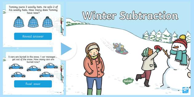 EYFS Winter Themed Subtraction PowerPoint - winter, subtract