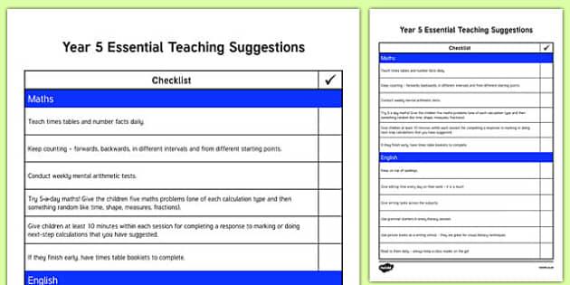 Year 5 Essential Teaching Suggestions Checklist