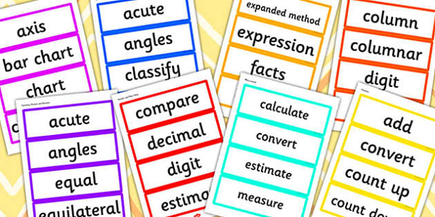 Year 4 2014 Curriculum Maths Vocabulary Cards Resource Pack