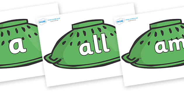 Foundation Stage 2 Keywords on Helmets to Support Teaching on Whatever Next! - FS2, CLL, keywords, Communication language and literacy,  Display, Key words, high frequency words, foundation stage literacy, DfES Letters and Sounds, Letters and Sounds,