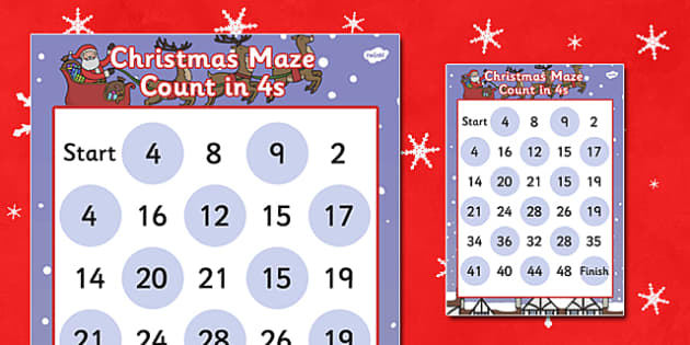Christmas Maze Counting in 4s Activity Sheet - christmas, maze, christmas maze, coutning in 4s, counting games, christmas games, themed counting activity, counting activity, worksheet