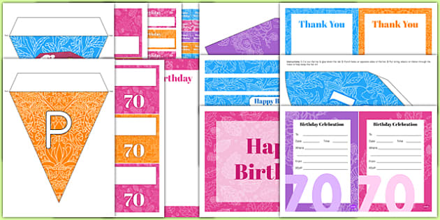70th Birthday Party Pack - 70th birthday party, 70th birthday, birthday party, pack