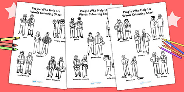 People Who Help Us Words Colouring Worksheets - colour, word