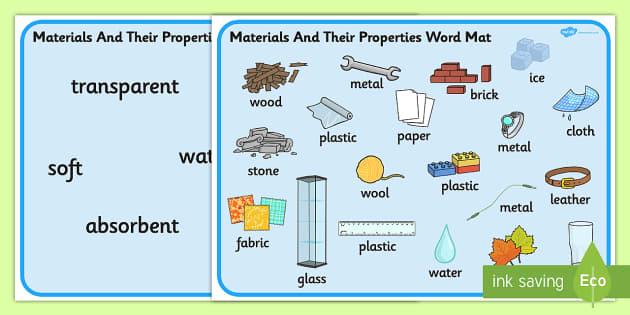Materials And Their Properties Word Mats - materials, properties