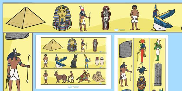 Ancient Egyptians Display Border - Ancient Egyptian, history, display border, classroom border, border, Egyptians, Egypt, pyramids, Pharaoh, hierogliphics, hieroglyphs, Tutankhamun, Giza, Dahshur, Mummy