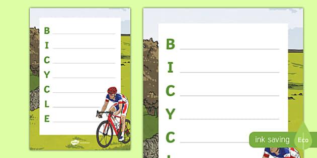 Bicycle Acrostic Poem
