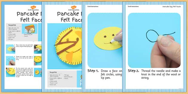 Pancake Day Felt Faces Craft Instructions - craft, pancake day