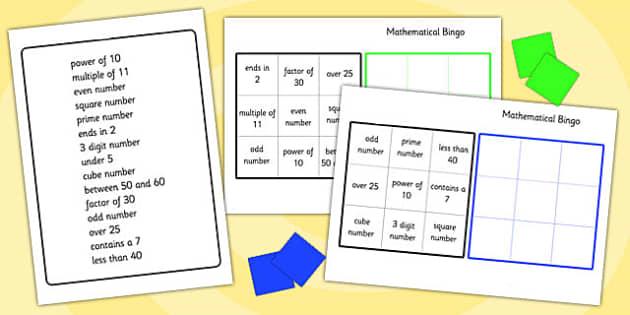 Mathematical Bingo - mathematical, maths, numeracy, numbers, bingo, bingo games, maths bingo, maths games, numeracy games, classroom games, games