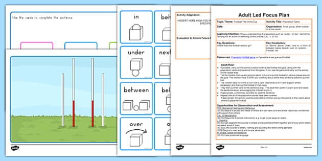 AFL Preposition Game Adult Led Focus Resource Pack - sport, english, grammar, place, under, over, themed, early years, ks1, ks2, teacher, teaching assistant, australia, footy