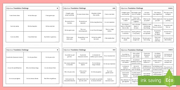 French Adjectives Challenge Differentiated Activity Sheets English/French  - French, Translation, practise, adjectives, adjectifs, position, agreement, possessive, possessifs, d