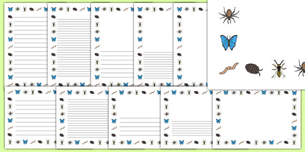 Minibeasts Page Borders Small Images - minibeasts, page borders
