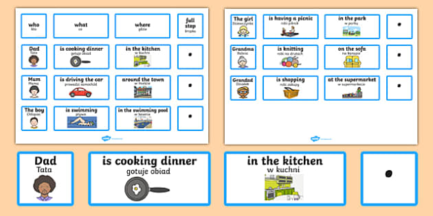 Everyday Sentence Building Cards Polish