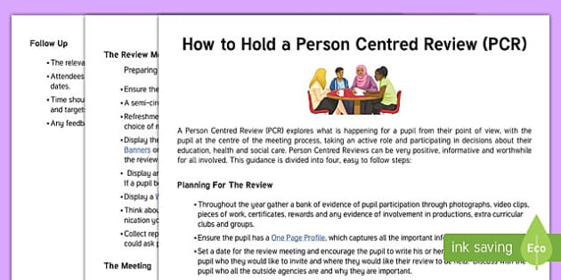 How to Hold a Person Centred Review Guidance Sheet - person centred review, annual, guidance, review, how to, sen, assess