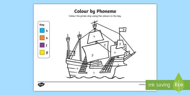 Colour by Phoneme Pirate Ship Phase 2 h b f ff - colour, phonemes, pirate ship, phase 2, satpin