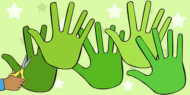 A4 Green Handprints - green, handprint, hands, cut out, a4, cut