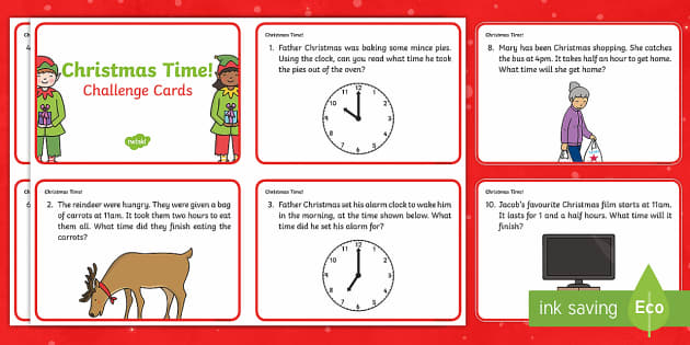 Year 1 Christmas Maths Time Challenge Cards - Christmas, Nativity, Jesus, xmas, Xmas, Father Christmas, Santa, St Nic, Saint Nicholas, traditions,