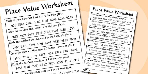 Place Value Worksheet 4 Digits - place value, worksheet, 4 digits