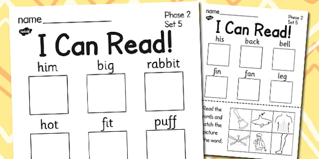 I Can Read Phase 2 Set 5 Words Activity Sheet - phase 2, activity, worksheet