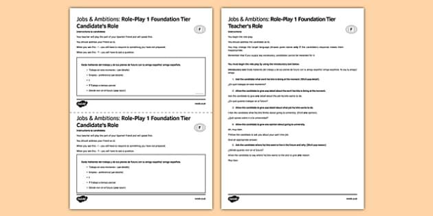 Trabajo& Ambiciones 1 Juego de rol Foundation Tier - Jobs, Ambitions, Speaking, Role-Play, Future, Trabajos, Ambiciones, Juego de Rol, foundation