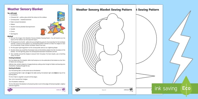 Weather Sensory Blanket for Babies  - Sensory, blanket, baby, babies, tummy time, DIY, sewing, pattern, sun, cloud, rain, lightning,