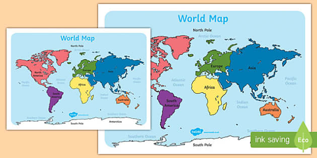 World Map With Names A4 - australia,, world map, map, names
