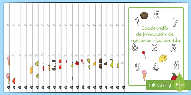 Cuadernillo de formación de números de la área temática de la comida-Spanish - comer sano, comida sana, comer saludable, comida saludable, fruta, verdura, dieta saludable, dieta s