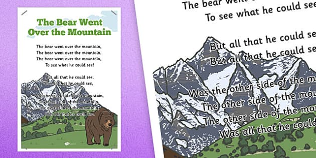 The Bear Went Over the Mountain Rhyme Poster - rhyme, poster