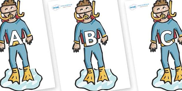 A-Z Alphabet on Divers - A-Z, A4, display, Alphabet frieze, Display letters, Letter posters, A-Z letters, Alphabet flashcards