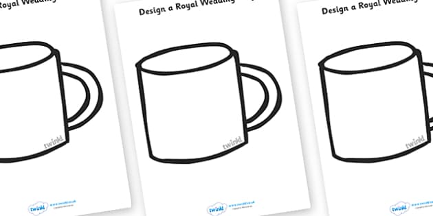 Design a Royal Wedding Mug - Royal Wedding, The Royal Wedding, fine motor skills, colouring, designing, activity, Prince William, Kate Middleton, The Royal Wedding, April 29th, Queen, Prince philip, marriage