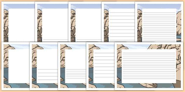 Rock Pool Landscape Page Borders- Landscape Page Borders - Page border, border, writing template, writing aid, writing frame, a4 border, template, templates, landscape