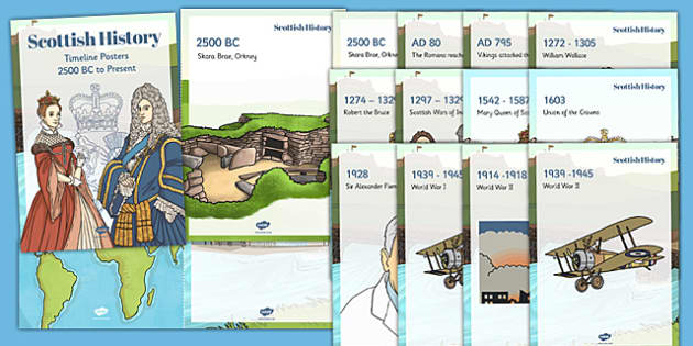 Scottish History Timeline Display Fact Cards - scottish, history, timeline