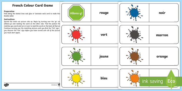 Different Colours Card Game-Scottish - French Games, french colours, french card games, self-correcting games,Scottish