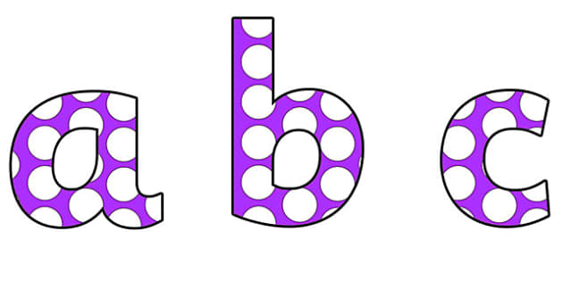 Purple and White Spots Lowercase Display Lettering - spots display lettering, lowercase display lettering, display lettering, spots