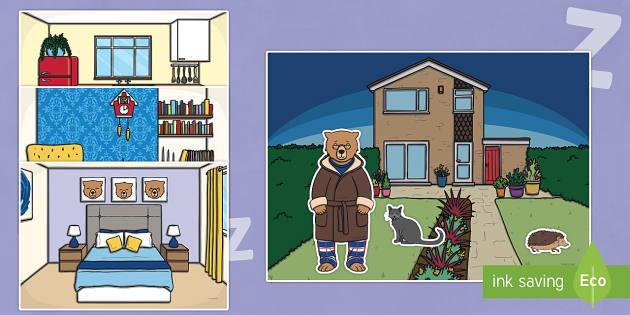 Peace at Last Story Cut Outs - Peace at Last, resources,  Jill Murphy, Large family, Mr Bear, Mrs Bear, Baby Bear, sleep, story, story book, story book resources, story sequencing, story resources, cut out