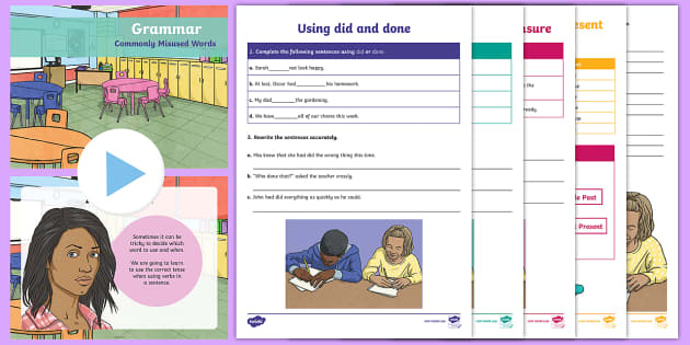 Grammar - Commonly misused words Lesson Pack - Literacy - Writing, Grammar, saw or seen, did or done, assure, insure, ensure, which or that, ,Scott