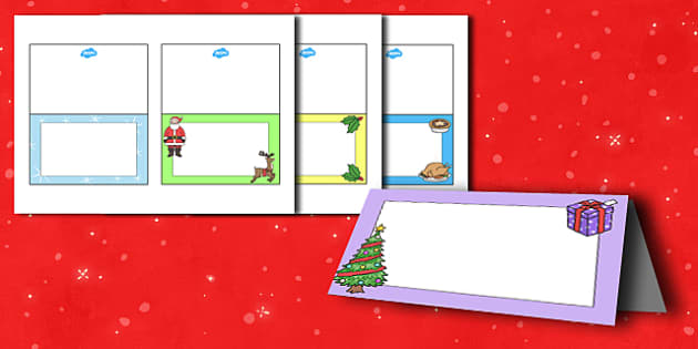 Christmas Meal Editable Place Cards - christmas, xmas, santa, meal, christmas meal, place cards, name, labels, label, cards, crackers, bells, toys, presents, reindeer, sleigh, baubles, tree lights, snow man, editable