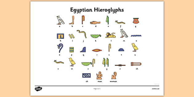 Ancient Egyptian Hieroglyphs Sheet Ancient Egyptian history – Hieroglyphics Worksheet