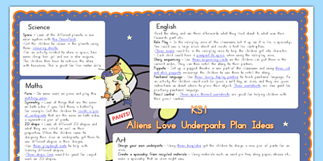 Lesson Plan Ideas KS1 to Support Teaching on Aliens Love Underpants - australia, aliens, underpants