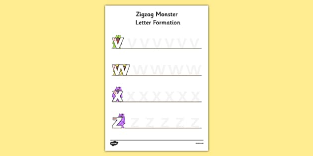 Zigzag Monster Letter Formation Activity Sheet - zigzag monster